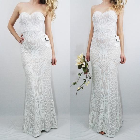 f0c16c9f69f Lulus Olivia White Sequin Strapless Maxi Dress